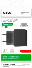 Sbs Alimentatore Universale Caricabatteria rete 2 USB Nero - TETRAV2USB2A