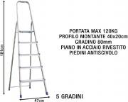 Sicos 139115 Scala Alluminio 5 gradini Domestica Piedini antiscivolo 139.115 Domina