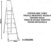 Sicos 139116 Scala Alluminio 6 gradini Domestica Piedini antiscivolo 139.116 Domina