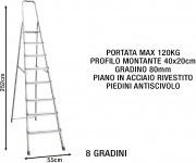 Sicos 139118 Scala Alluminio 8 gradini Domestica Piedini antiscivolo 139.118 Domina