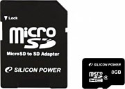 Silicon Power SP008GBSTH004V10SP Micro sd 8 GB Scheda MicroSDHC Classe 4