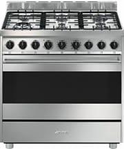 Smeg B9GMXI9 Cucina a Gas 6 Fuochi Forno Elettrico Ventilato 90x60 cm A Inox