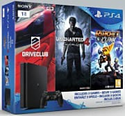Sony Console ps4 playstation 4 slim 1tb + driveclub + uncharted 4 + r&c 9805861