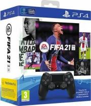 Sony 9834021 Gamepad Dualshock 4 Wave Blue V2 +Voucher FIFA 21 e FUT 21 Nero