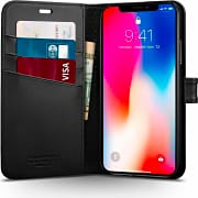 Spigen 057CS22176  Custodia Cover a Libro iPhone X porta Carte Credito Nero 057CS22176