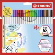 Stabilo 56824-211 Confezione 24 Stabilo Pen 68 Brush Ass Cbwlt