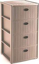 STEFANPLAST 30401 Cassettiera Plastica 4 cassetti 40x40x80 cm Tortora  Elegance
