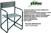 Stiliac ST034024 Sedia Pieghevole da Regista in Ferro Tessuto Antracite  Party
