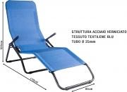 Stiliac ST7500 Sdraio da Giardino Pieghevole Reclinabile Braccioli Blu  Pasha
