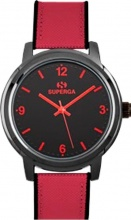 Superga STC008 Orologio Uomo Acciaio Analogico Cinturino in Nylon colore Rosso Nero