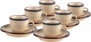 TOGNANA PORCELLANE Tazzine caffè con Piattino set 6 pezzi BluBeige FO085011706 Fogolar