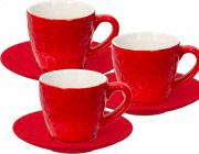 TOGNANA PORCELLANE RE185013372 Tazzine caffè con Piattino set 6 pezzi Rosso  Kubik