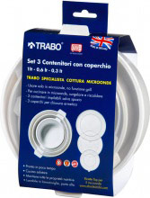 TRABO Set per cottura nel forno Microonde 3 contenitori con coperchio ECM46