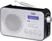 TREVI 0DA7F9200 Radio Digitale DAB Portatile Sveglia Nero Silver  DAB 7F92 R
