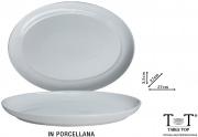 Table Top B1163 Vassoio Ovale Porcellana Bianca cm 37x27x3.5h