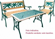 Tata Linda DECORO PALMA TAVOLO Tavolo da Giardino in Legno e Ghisa Tavolino Decoro Palma