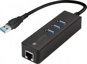 Techly USB-ETGIGA-3U2 Adattatore Usb Lan USB 3.0 Gigabit Ethernet 3 porte IDATA