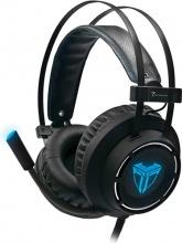 Techmade TM-M06L Cuffie Gaming PC con Microfono ad Archetto LED Azzurro Nero
