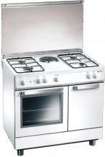 Tecnogas Cucina a Gas 4 Fuochi + 1 Piastra Forno Elettrico Grill 80x50 cm D881WS