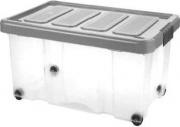 Tontarelli 8035640AK5 Contenitore con coperchio e ruote Sotto letto 60 L Grafite Puzzle Box