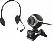 Trust 17028 Cuffia per Pc con Microfono + Webcam colore Nero, Argento