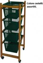 VALDOMO 184212 Carrello Cucina in legno 4 cesti Ruote 37x30x85 h colore Noce ERCOLINO