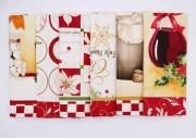 VINGI LG0220-DIS2 Strofinacci Cucina Natalizi Cotone Set 6 pz Stampati Dis 2 Avorio Tiffany