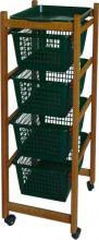 VALDOMO Carrello Cucina in legno 4 cesti Ruote 37x30x85 h colore Noce ERCOLINO
