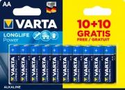 Varta 4906121490 Batteria LongLife POWER AA 10+10 Free Alk.
