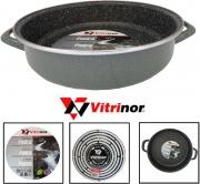Vitrinor 080101 Tegame Acciaio Vetrificato cm 28 in Pietra per Induzione