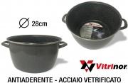 Vitrinor 089715 Pentola 2 Manici cm 28 Acciaio Vetrificato per Induzione