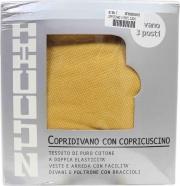 ZUCCHI BD1894 Copridivano 3 Posti elasticizzato Tinta Unita con Copricuscino Oro Zucchi