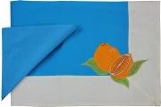 Blanco Raya 103301 - 140x180  Azzurro Tovaglia Cotone 6 posti 140x180 cm + 6 Tovaglioli Azzurro 103301 Arancia