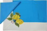 Blanco Raya Tovaglia Cotone 6 posti 140x180 cm + 6 Tovaglioli Azzurro 103301 Limone