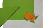 Blanco Raya 103301 - 140x180  Verde Tovaglia Cotone 6 posti 140x180 cm + 6 Tovaglioli Verde 103301 Arancia