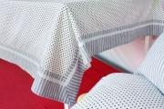Blanco Raya Tovaglia Cotone 6 posti Tavolo rettangolare 140x180 cm Grigio Camille