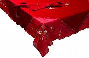 Elite W25-81630 - 140x180  Rosso Tovaglia Natalizia Ricamata 6 posti 140x180 cm 6 Tovaglioli Rosso W25-81630