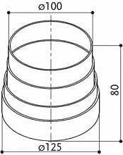 Faber 112.0157.302 Raccordo riduzione circolare Accessorio cappa RC 125-100