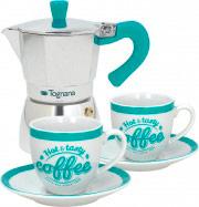 TOGNANA PORCELLANE Set Caffe Caffettiera + 2 tazzine in Porcellana Verde Tiffany V4491031M03