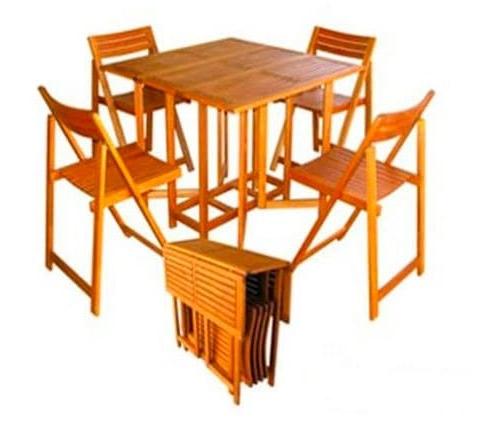 Tavolo Con Sedie In Legno.Tavolo Da Giardino Con Sedie Pieghevoli Legno Amicasa Art 45