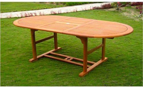 Tavolo Da Giardino Legno Allungabile.Dettagli Su Tavolo Da Giardino In Legno Allungabile 150 200x100 Cm Ovale Amicasa Creta