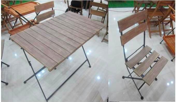 Tavolo Da Giardino 120 X 70.Tavolo Da Giardino Con Sedie In Legno 120x70 Cm Amicasa Dt Set095 Ebay