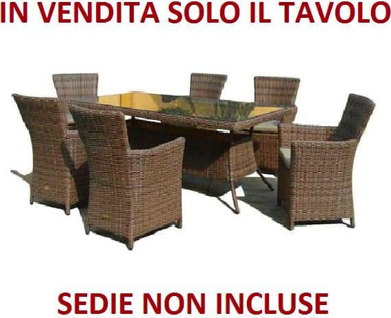 Sedie Esterno Rattan Sintetico.Set Tavolo Da Giardino Rattan Sintetico 200x100 Cm 6 Poltrone