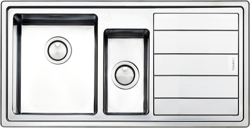 Dettagli su Lavello Cucina 1 Vasca e 1/2 Apell Incasso Acciaio Inox 100 cm  LNP1002FLBC