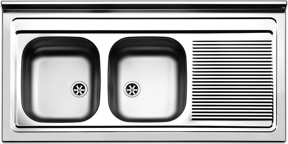 Lavello Cucina 2 Vasche Acciaio Inox da Appoggio 120 cm Apell ...