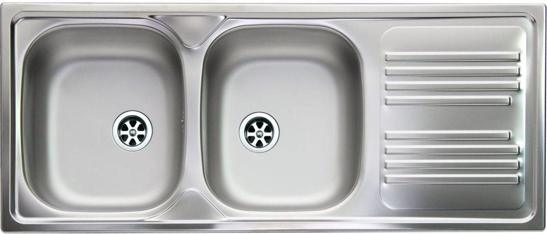 lavello cucina 2 vasche incasso acciaio inox apell 116 cm ti116