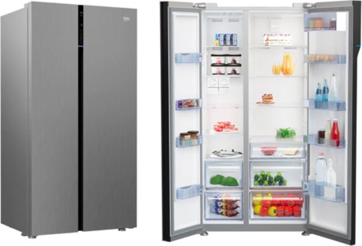 Frigorifero Americano Anni 50 dettagli su frigorifero americano side by side beko classe a+ 625 litri  inox gn 163122 x