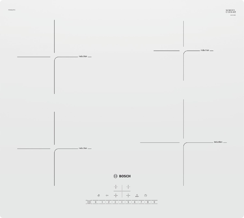 Piano Cottura Induzione 4 Fuochi Bosch Bianco Elettrico Incasso 60 ...