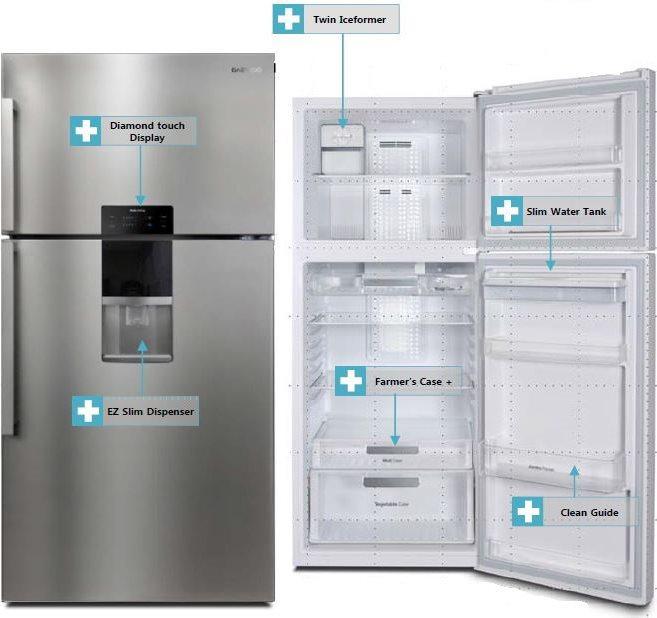 Daewoo frigorifero doppia porta 598 lt classe a no frost for Frigorifero doppia porta
