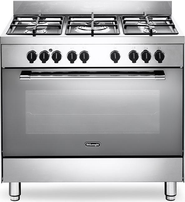 Dettagli su Cucina a Gas 5 Fuochi De Longhi Forno Elettrico Ventilato 90x60  A Inox GEMMA9